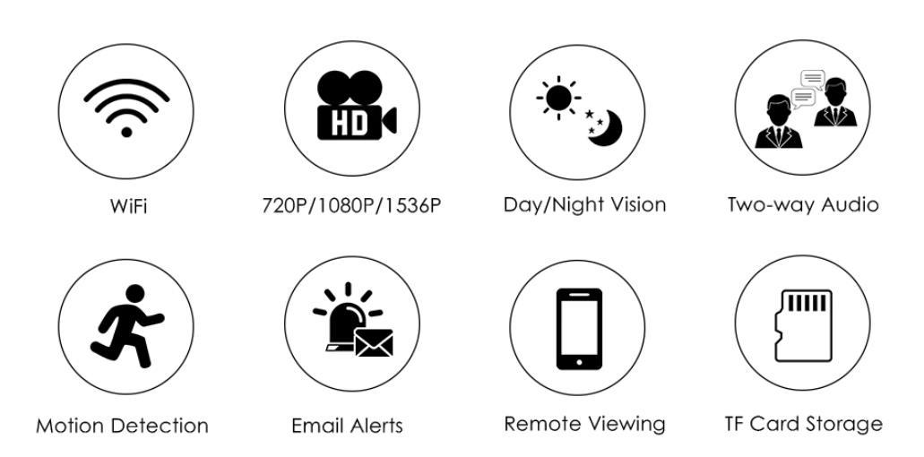 720P-1080P-1536P wireless Home Security Camera-