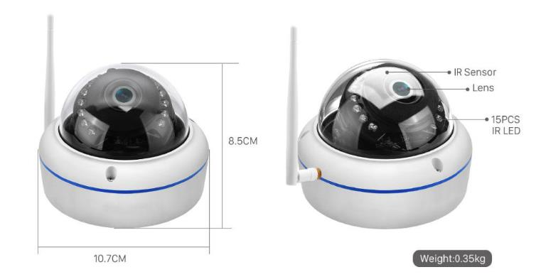 1080P All Weather Vandal Proof Dome Wireless Security Camera